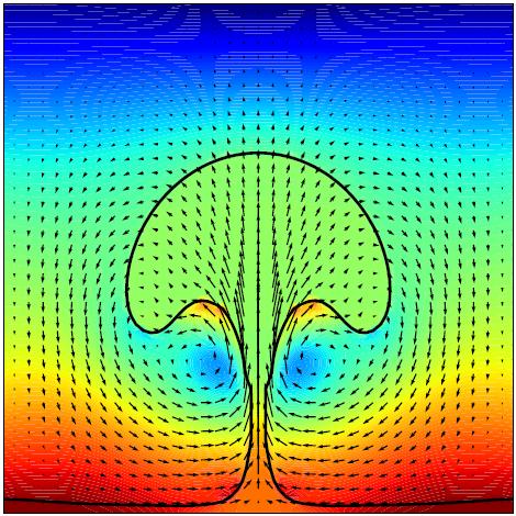 Dette er et bilde fra en 2D-simulering av en kokende væskefilm. Den svarte linjen representerer overgangen mellom væske (over linja) og gass (under linja). Fargene viser trykkforskjeller, blått representerer høyt trykk og rødt representerer lavt trykk. Væsken begynner å koke ved den varme bunnen. Simuleringen viser som forventet at kokingen på bunnen etter hvert fører til at en boble dannes og stiger.
