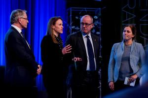 Fra venstre Arvid Hallen, Lise Randeberg, Gunnar Bovim og Alexandra Bech Gjørv.Lerchendalkonferansen, fotograf: Andreas Buarø