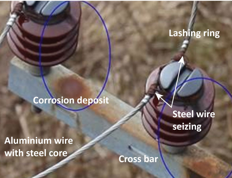 Corrosion deposits are a sign of deterioration of an insulator's properties.