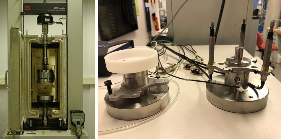 Venstre: SINTEF lasteramme hvor små skiferkjerner kan testes i triaksiell kompresjon. Høyre: SINTEF triaksielle celle for 15 mm diameter skifer sylinderplugger.