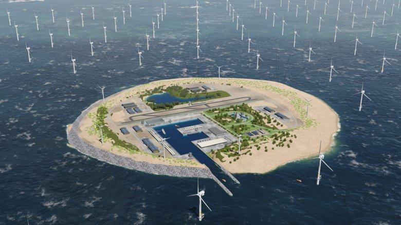 """""""One Power Link Island"""" kan håndtere opptil 30 GW med offshore vindparker, sier TenneT. Tanken bak øya er å lage et koblingspunkt for veldg mange vindturbiner. Grafikk: TenneT"""