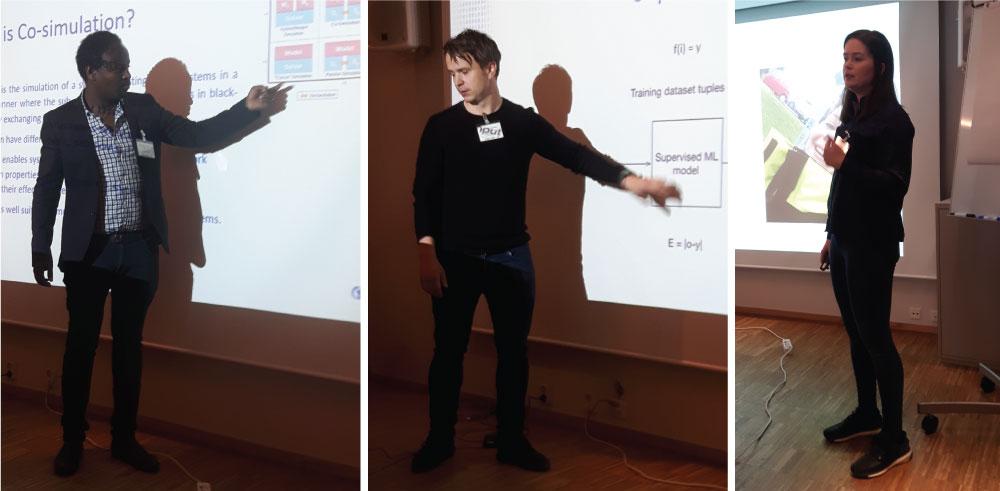 Merkebu Degefa, SINTEF Energi, redegjorde for mulighetene for co-simulering i lab. Bjørn Magnus Mathisen, Sintef Digital, snakket om maskinlæring anvendt i kraftbransjen, mens Ida Bakke, Skagerak Nett fortalte om selvhelende nett i Sande.