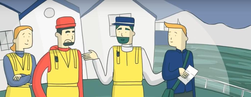illustrasjon av fire personer på oppdrettsanlegg