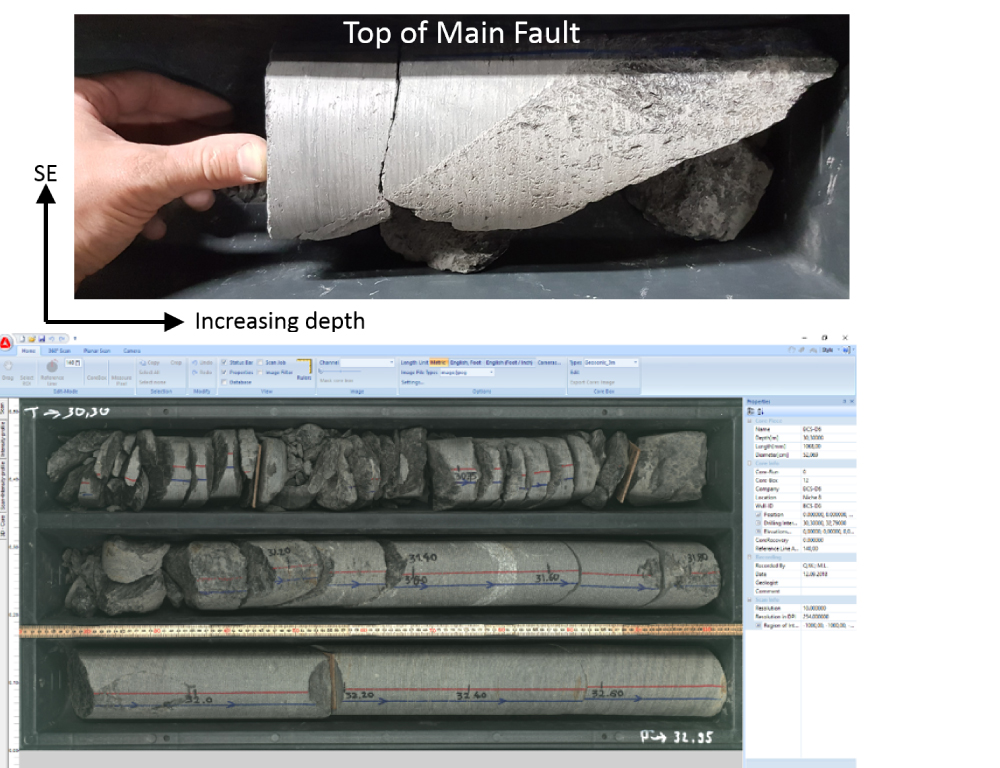 Mont Terri Experiment Figure 3: The fault (top) is a zone densely fractured (on the right side of the top photo); the contact with the intact host rock in its upper part is visible as a plane with c.a. 60° inclination. Cores are scanned, catalogued, and data are immediately entered in a database (bottom). (Photo: Q. Wenning)