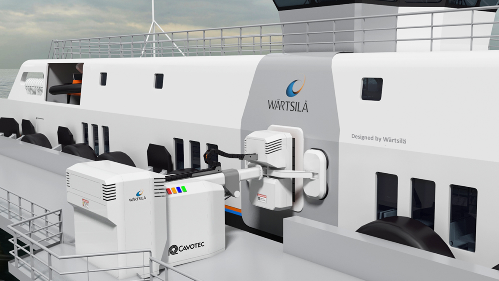 Wärtsilä and SINTEF have together developed a system for the contact-free charging of ferries. (https://www.tu.no/artikler/fra-sommeren-vil-bilfergen-lades-med-induksjon/367052 (Illustration: Wärtsilä)