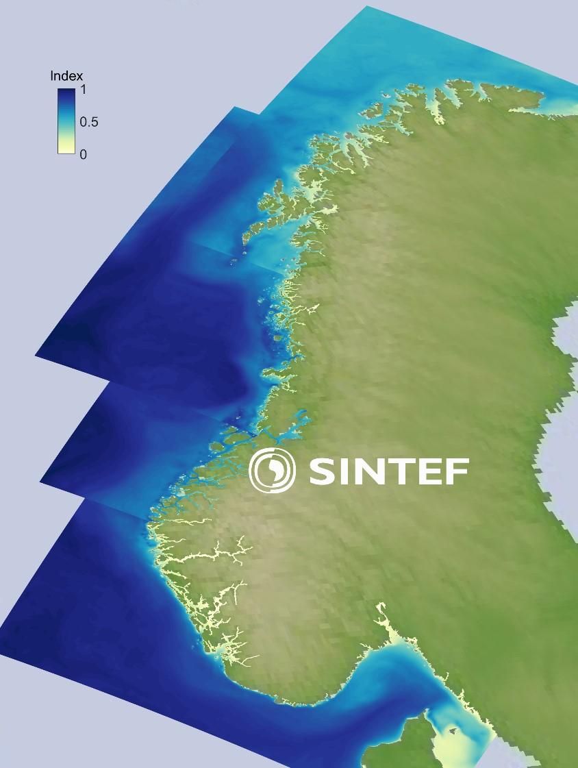 Taredyrking De gule til blå områdene i havet viser en indeks for taredyrkingspotensialet langs norskekysten, der de mørkeste blå områdene har størst potensial, mens de gule områdene har mindre potensial for biomasseproduksjon. Landkartet er basert på data fra NASA.