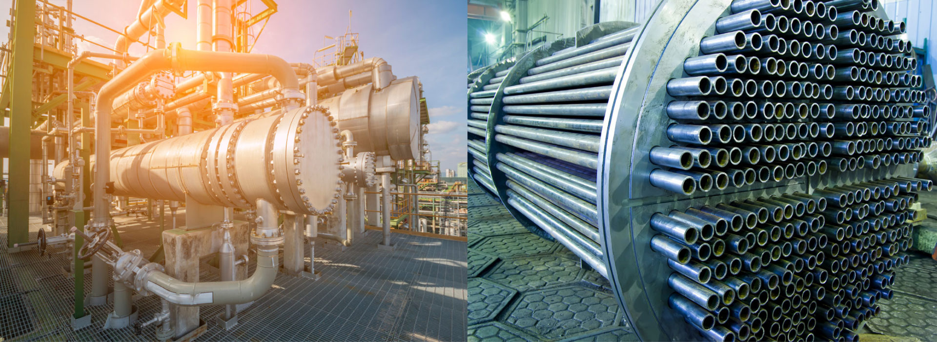 Figure 3: The shell-and-tube is a common heat exchanger type in industry processes, and as other heat exchanger types has a limited set of design features that can be altered to maximize efficiency for a given application