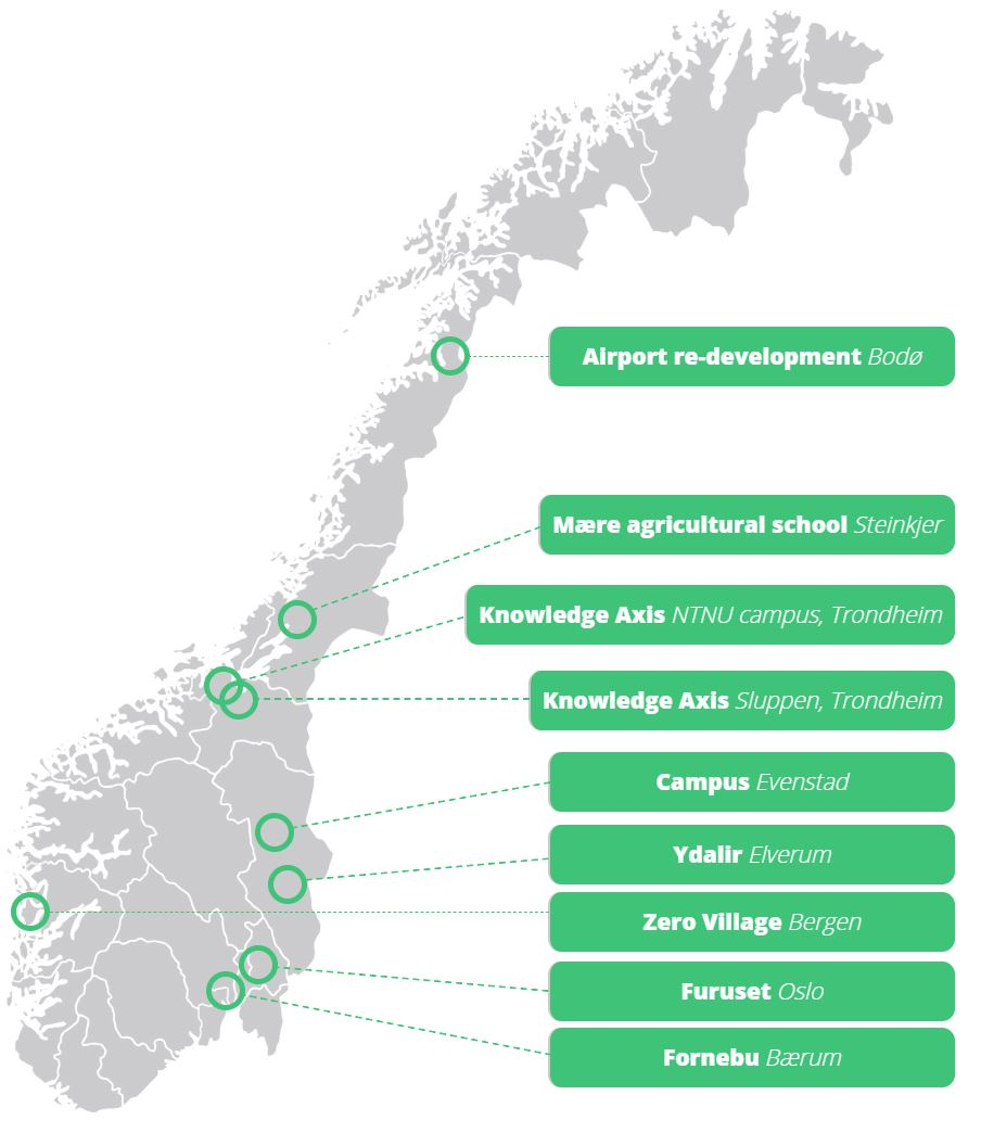 Pilotprosjekter: Kart over de ni pilotprosjektene for nullutslippsområder.