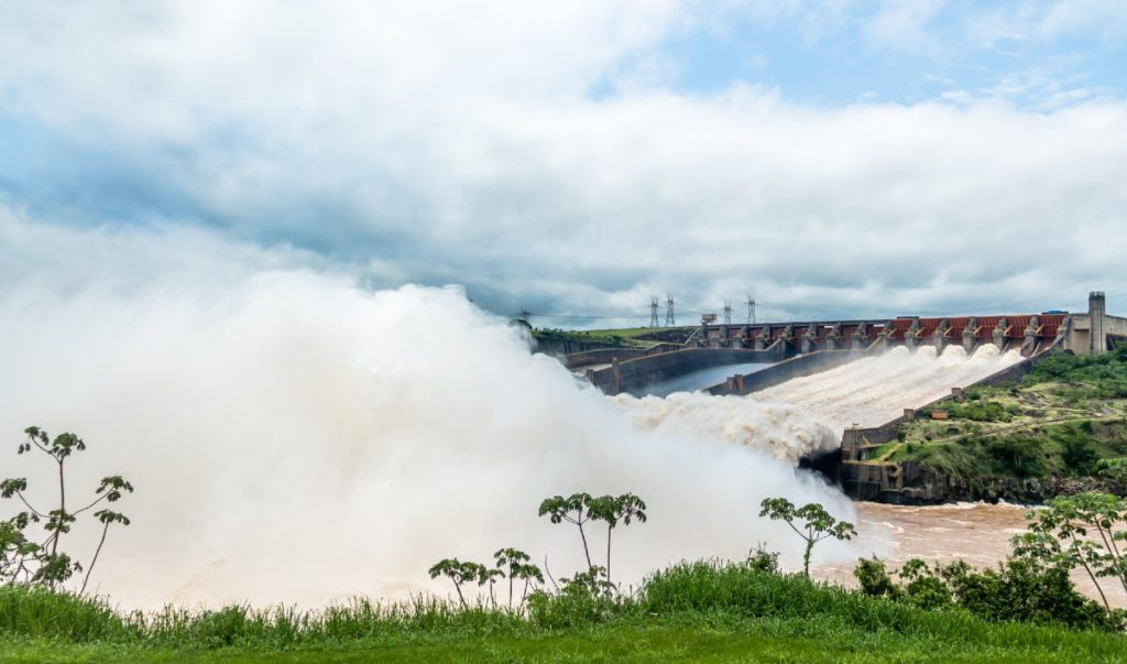 The Itaipu Dam is a hydroelectric dam on the border of Brazil and Paraguay