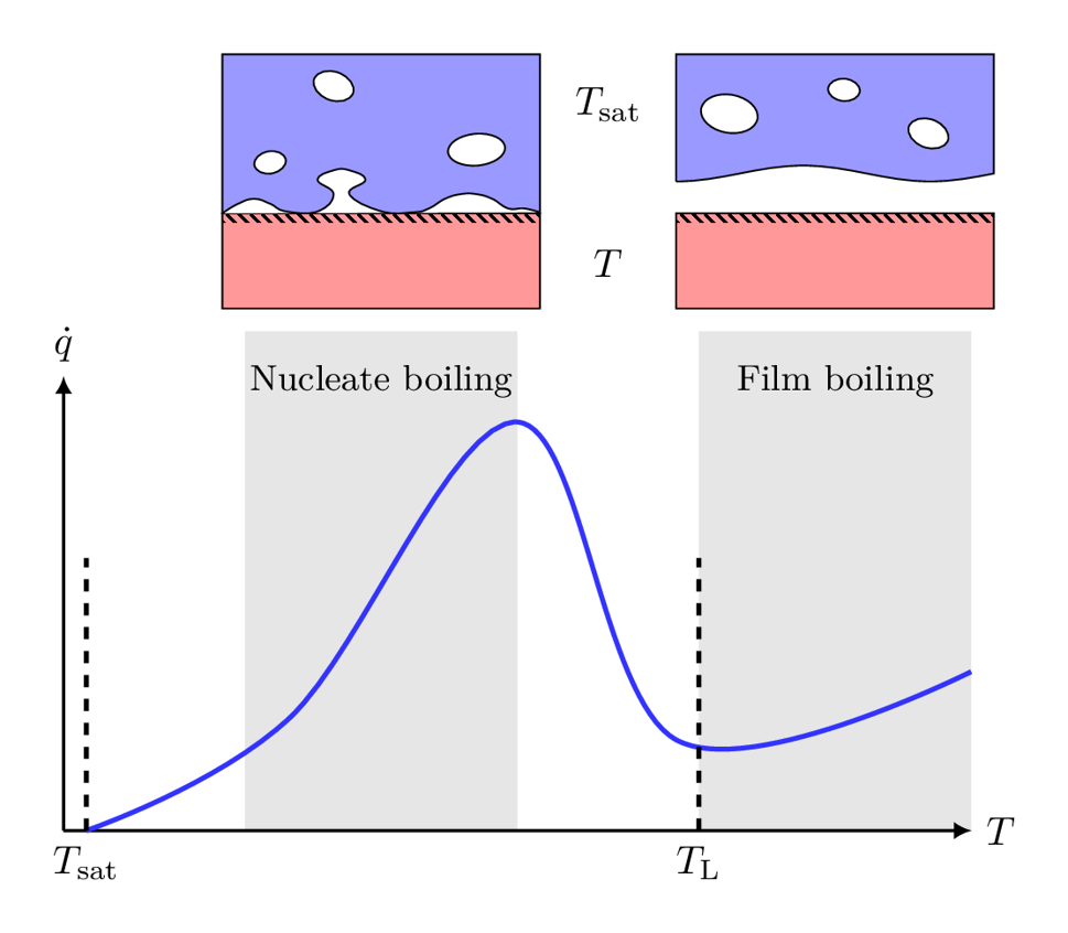 Illustration of a typical boiling curve for saturated pool boiling