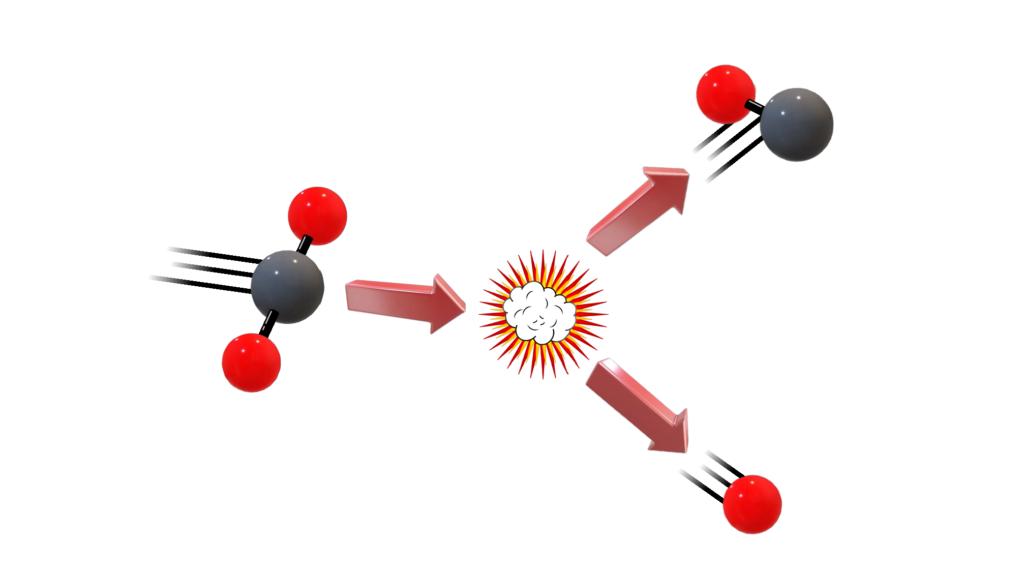 CO2 molecule dissociating