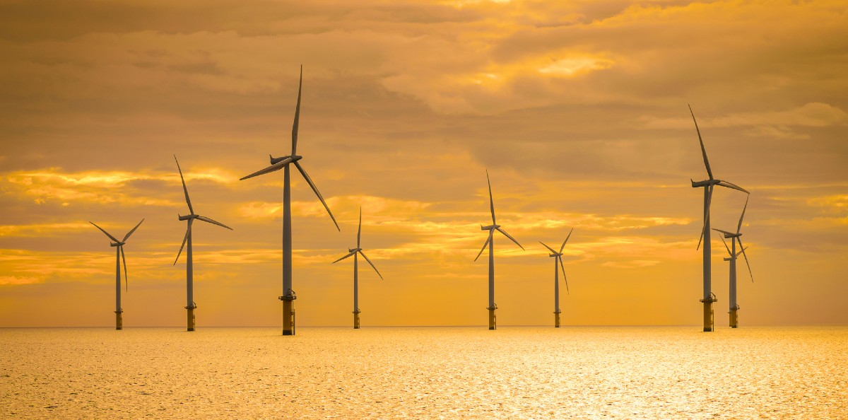 Offshore wind sunset