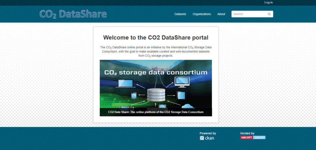 Screenshot of the CO2DataShare portal