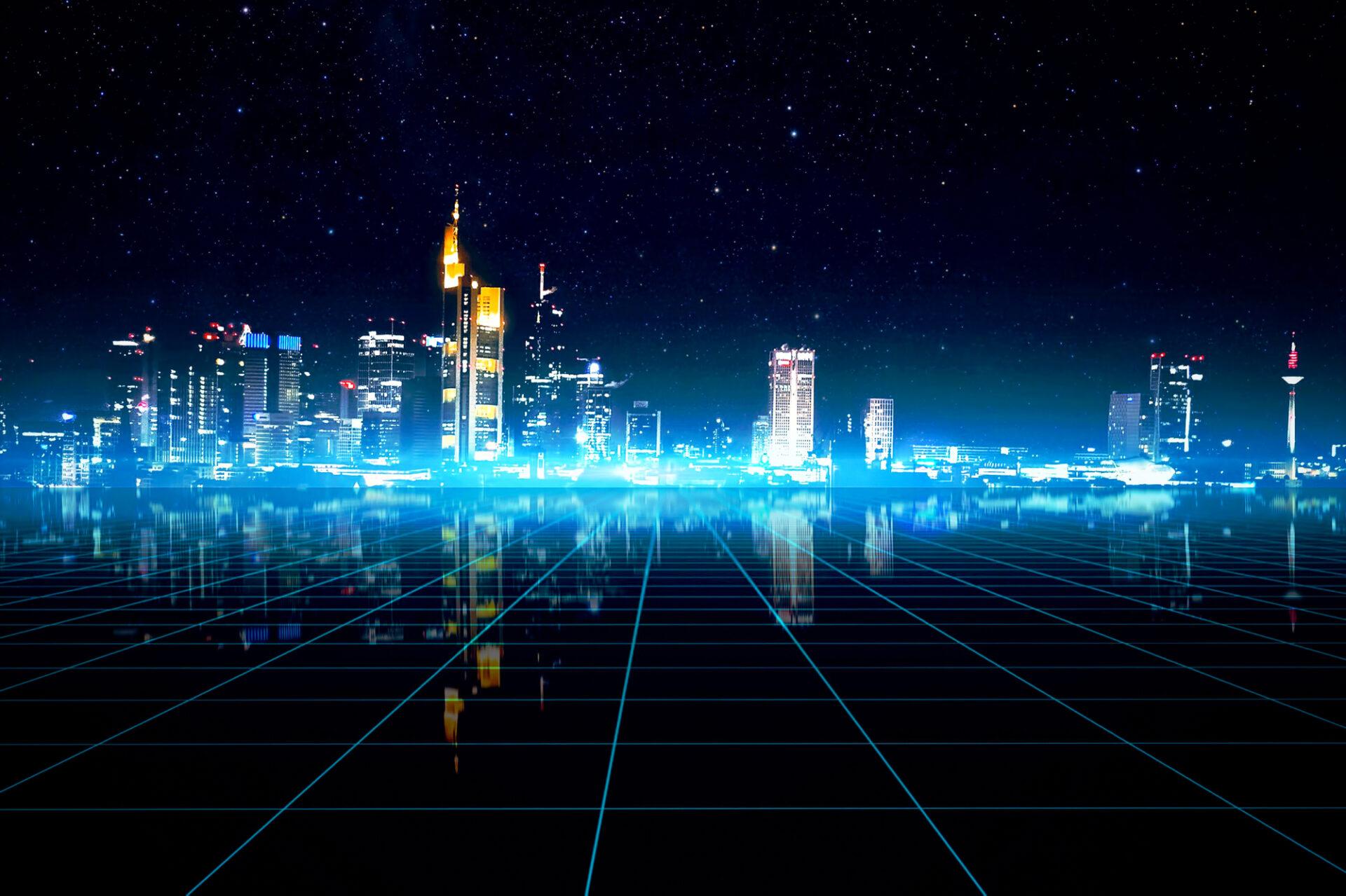 Futuristic picture of Franfurt by night