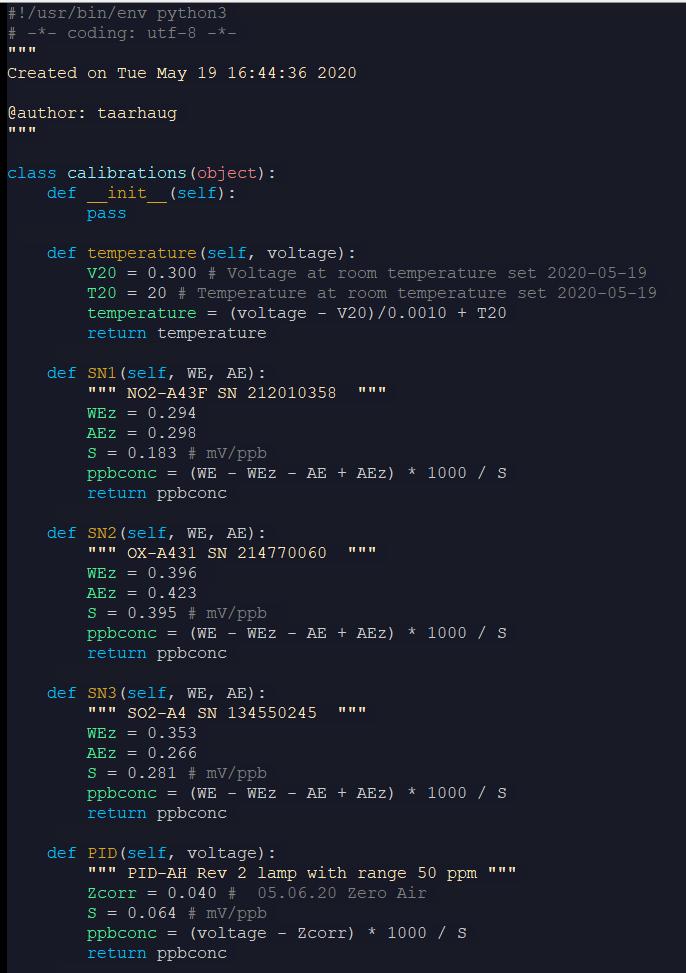 Python calibration class