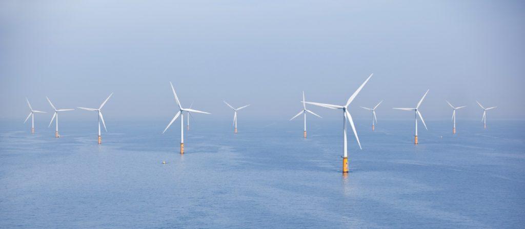 Offshore wind turbines in the ocean