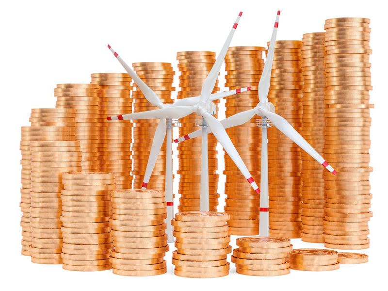 Wind turbines with growing chart from gold coins around.