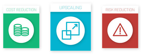 Cost reduction, Upscaling, Risk reduction