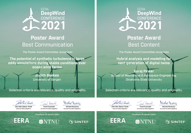DeepWind 2021 Poster Award Best Communication: Judith Boekee, University of Bergen – Poster Award Best Content: Surah Pawar, School of Mechanical & Aerospace Engineering, Oklahoma State University