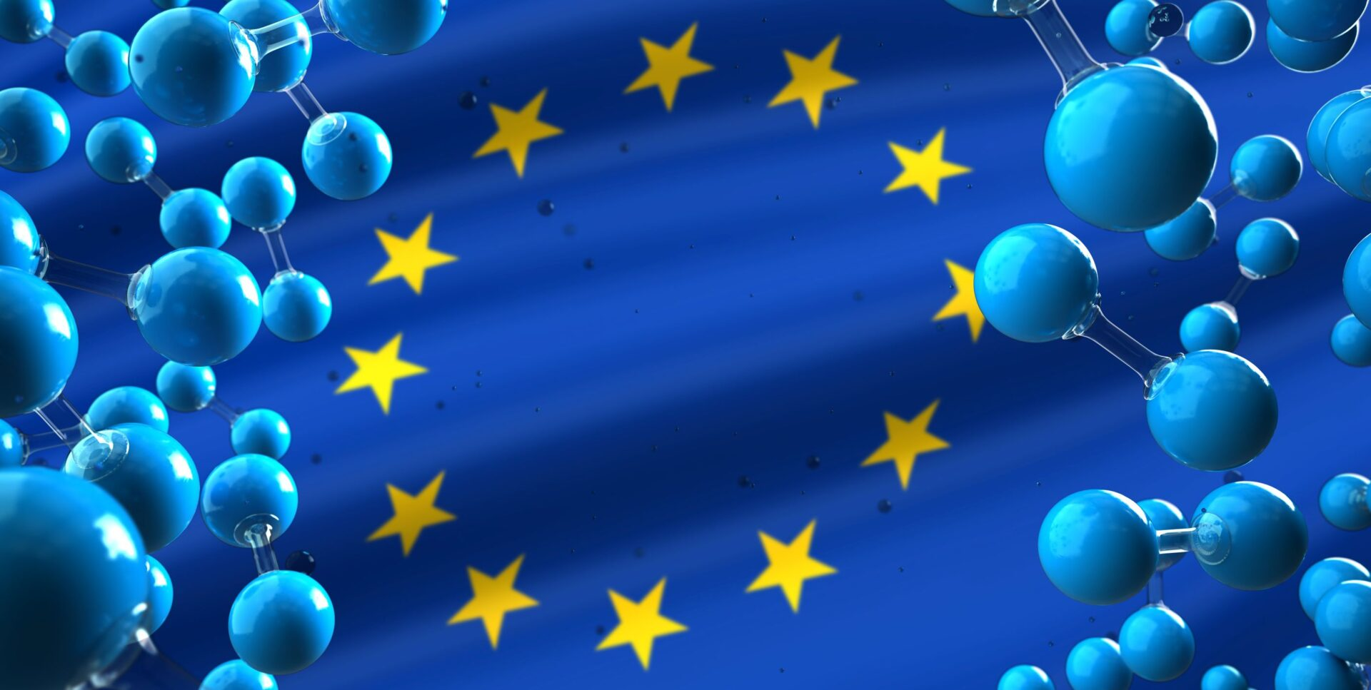 EU flag and hydrogen