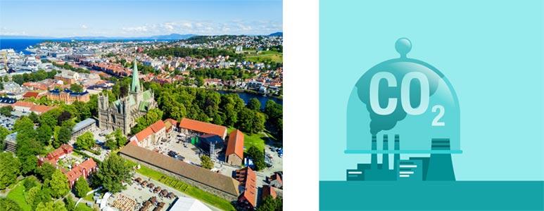 Flyfoto av Trondheim og CCS infografikk.