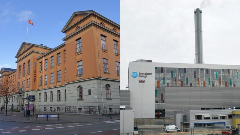 Trondheim rådhus og avfallforbrenningsanlegget på Heimdal