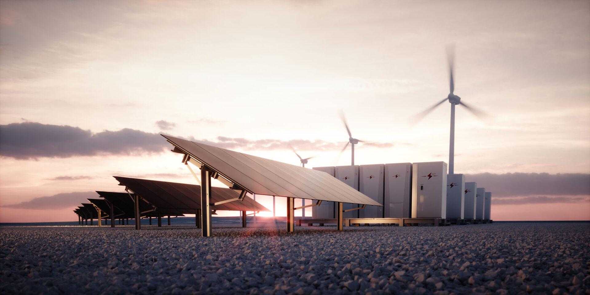 Solkraft, vindkraft, batterier