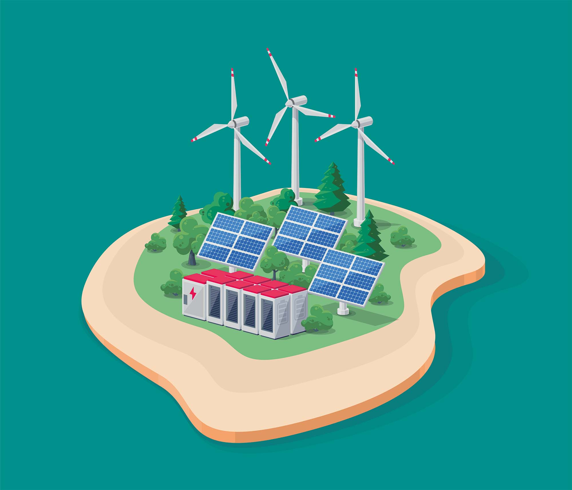 A microgrid produces, stores, distributes and uses power. Microgrids can be, for example, suitable for islands, where it is expensive and/or difficult to reach with cables from the mainland.