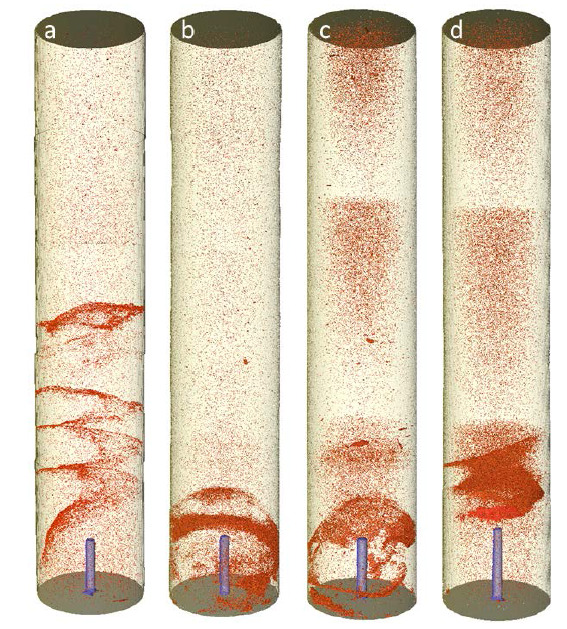 3D reconstruction of sandstone plugs for 4 different experiments. Red colour visualises precipitated salt. The left-most and right-most plugs have identical flow rate conditions.